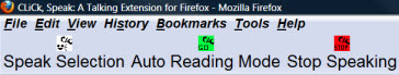 Firefox toolbar of 3 buttons, each with a text label and image