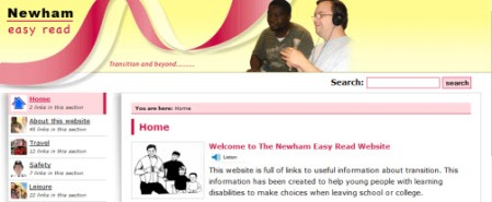 Newham home page. Large banner at top. Links column on left.