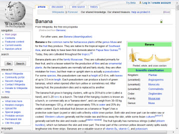 Wikipedia page with columns of links, images & tables
