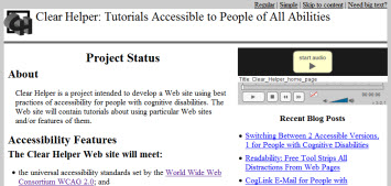 2-column Web page. Primary text on left. Player and links on right.
