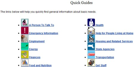 Quick Guides home page: list of categorized links with relevant images