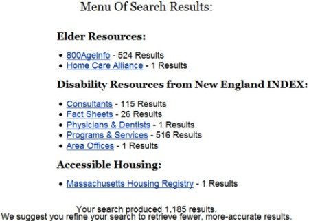 Menu of search results categorized and counted.