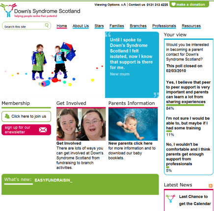 home page with pictures of children and young women with Down's Syndrome