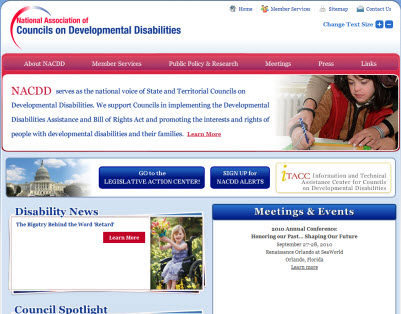 home page of National Association of Councils on Developmental Disabilities