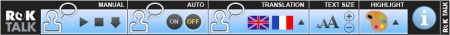 ROK Talk toolbar has feature sections with icon-based buttons in each.